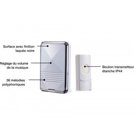 Carillon sans fil portée 200m blanc