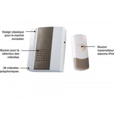 Carillon sans fil portée 200m gris/blanc