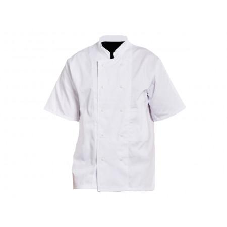 Veste de cuisine blanche manches courtes à pressions