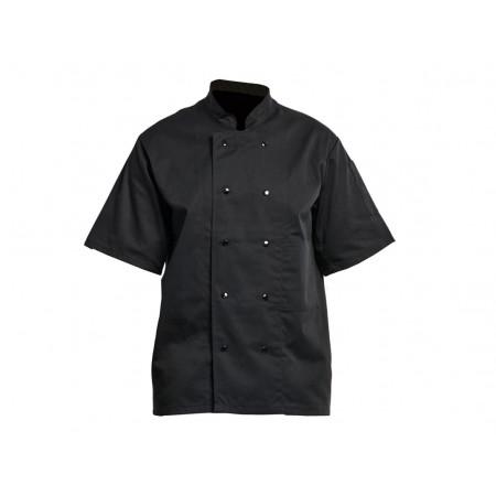 Veste de cuisine noire manches courtes à pressions