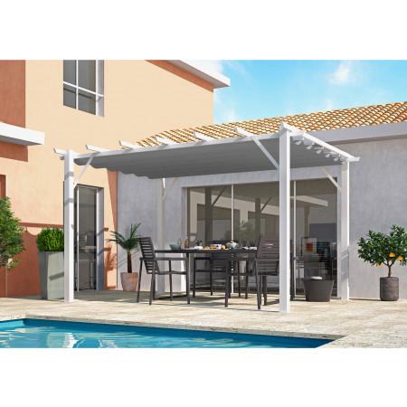 Pergola aluminium blanc 4x3m toile gris claire