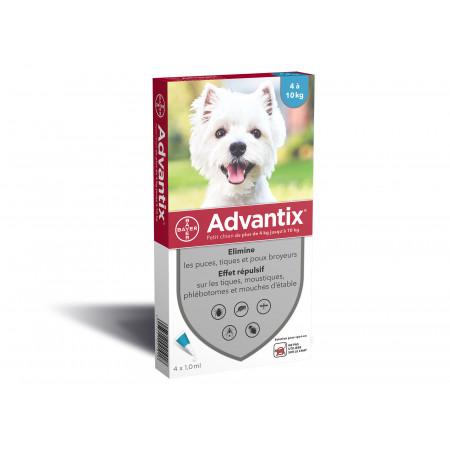 Pipette antiparasitaire chien ADVANTIX 4 à 10kg x4