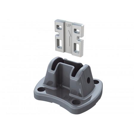 Platine aluminium Easyclip®+ 4 chevilles métal Gris