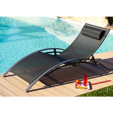 Chaise longue Alu Noir
