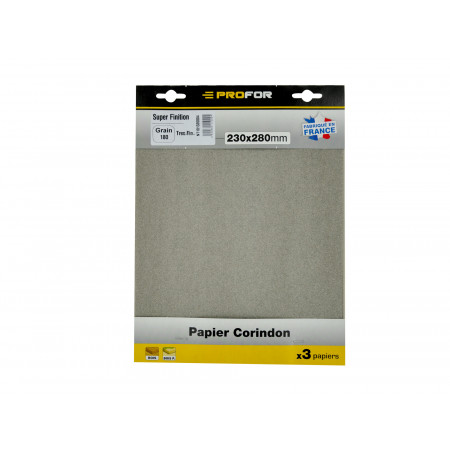 3 feuilles abrasives 230x280mm grain 180 corindon