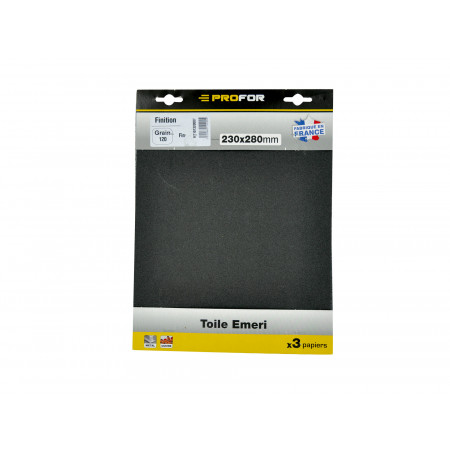 3 feuilles abrasives 230x280mm grain 80 Emeri