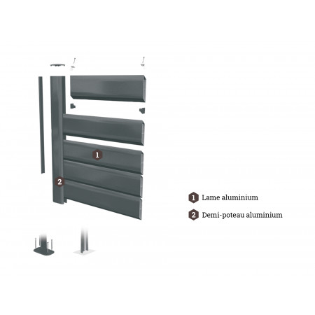 Lame palissade alu gris anthracite 2m