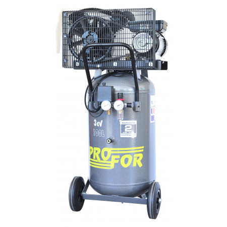 Compresseur vertical à courroie bi-cylindre 100L 3 cv