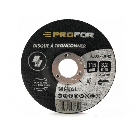 Disque à tronçonner acier Ø115 x 3mm PROFOR