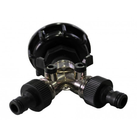 Raccord S60x6 avec robinet double sortie zinc