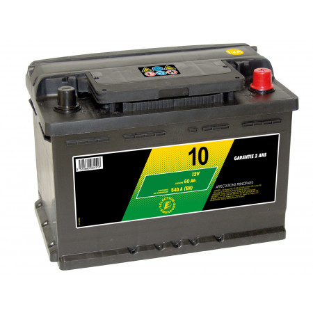 Batterie 12V N°10 Sélection Emeraude 62Ah 540A +D