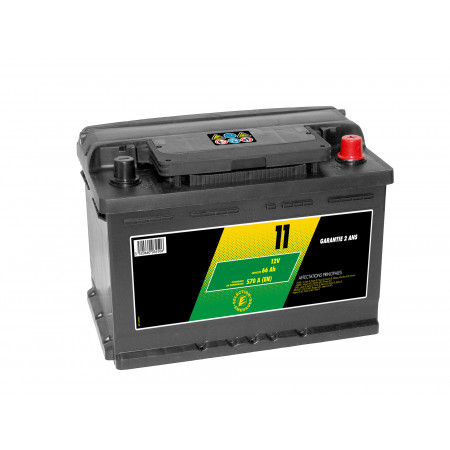 Batterie 12V N°11 Sélection Emeraude 66Ah 570A +D