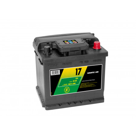 Batterie 12V N°17 Sélection Emeraude 50Ah 460A +D