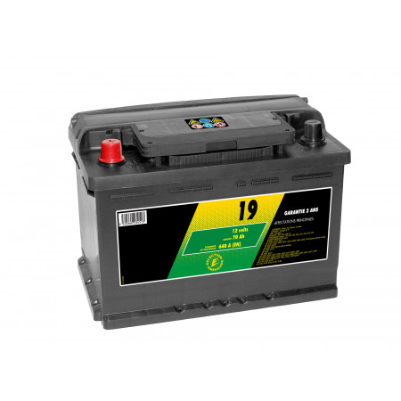 Batterie 12V N°19 Sélection Emeraude 70Ah 640A +G