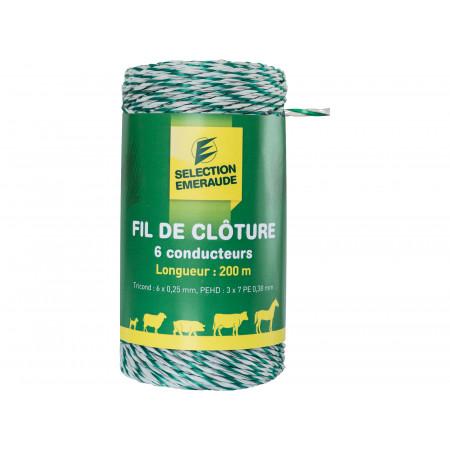 Fil de clôture TriCond blanc/vert torsadé 200m