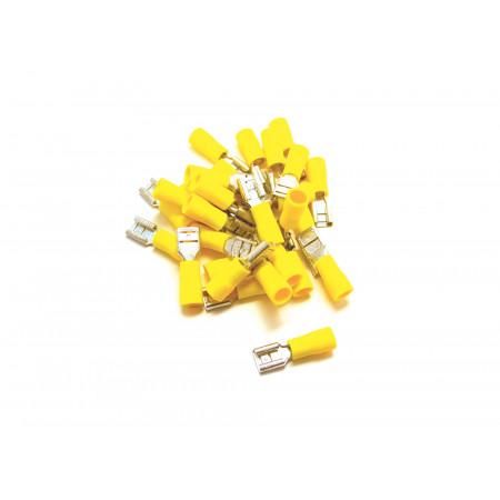 Lot de 20 Cosses plates Femelles 6.3 jaunes