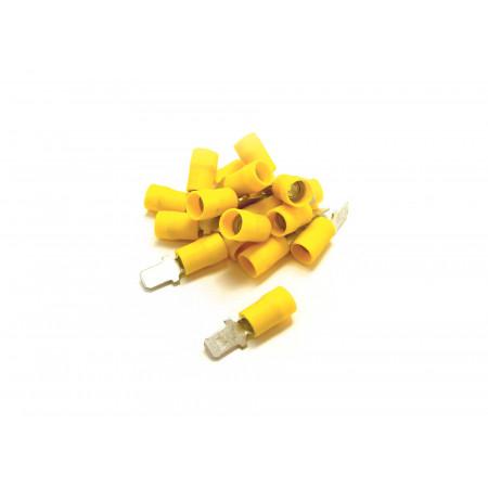 Lot de 20 Cosses plates Mâles 6.3 jaunes