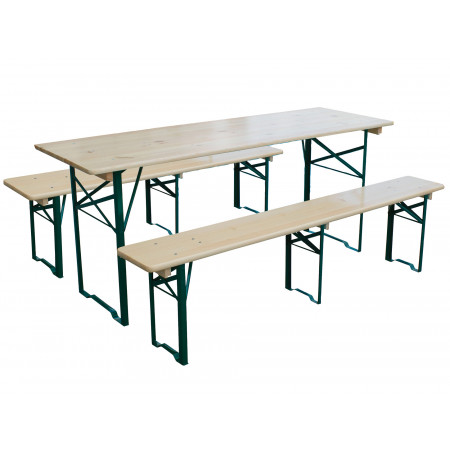 Set brasserie table + 2 bancs