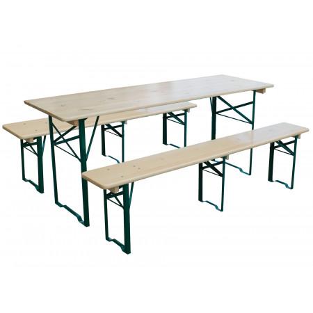 Set brasserie table 4/6 places + 2 bancs