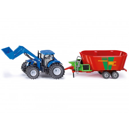 Tracteur New Holland avec chargeur et mélangeuse SIKU 1/50e