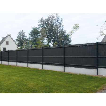 Kit clôture lamelles occultantes L 1,23 m gris anthracite