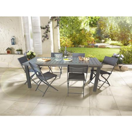 Table de jardin alu 4/6 places Aleria Anthracite