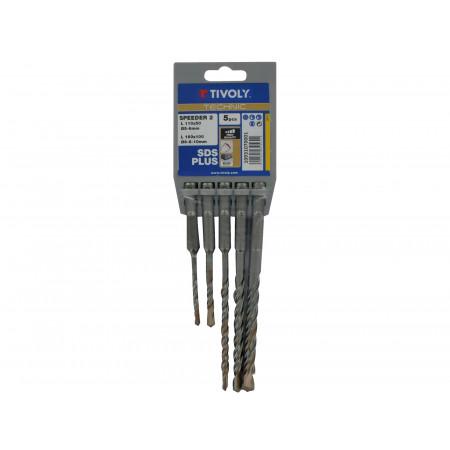 5 forets béton SDS+ Speeder 2 taillants Ø5 à 10