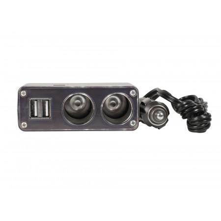 Multiprise voiture 2 ports 12V + 2 USB