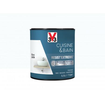 Peinture cuisine & sdb Resist'Extême Satin V33 Blanc 0,5L
