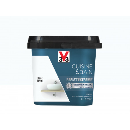 Peinture cuisine & sdb Resist'Extême Satin V33 Blanc 2L