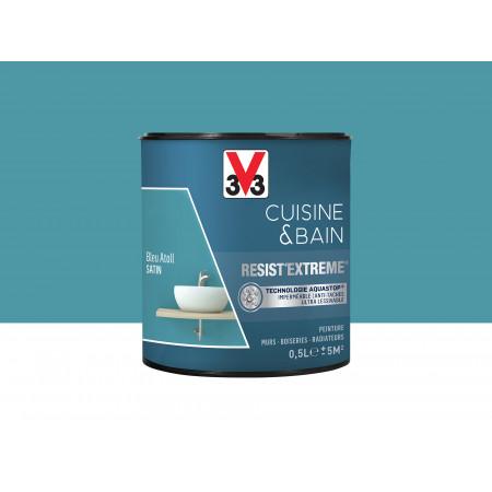 Peinture cuisine & sdb Resist'Extême Satin V33 Bleu Atol 0,5L
