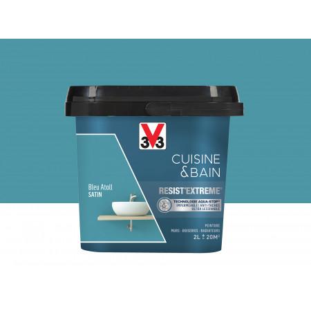 Peinture cuisine & sdb Resist'Extême Satin V33 Bleu Atol 2L