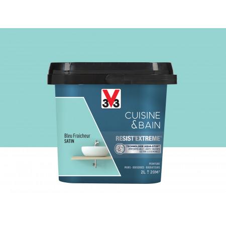 Peinture cuisine & sdb Resist'Extême Satin V33 Bleu Fraicheur 2L