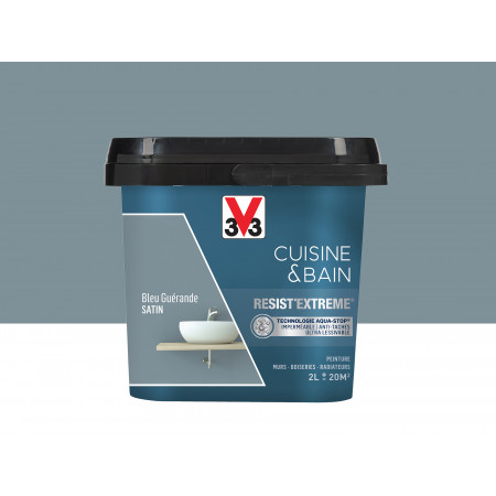 Peinture cuisine & sdb Resist'Extême Satin V33 Bleu Guérande 2L