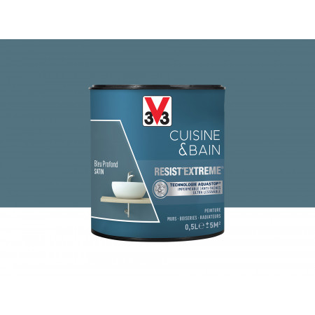 Peinture cuisine & sdb Resist'Extême Satin V33 Bleu Profond 0,5L