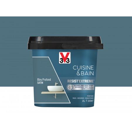 Peinture cuisine & sdb Resist'Extême Satin V33 Bleu Profond 2L