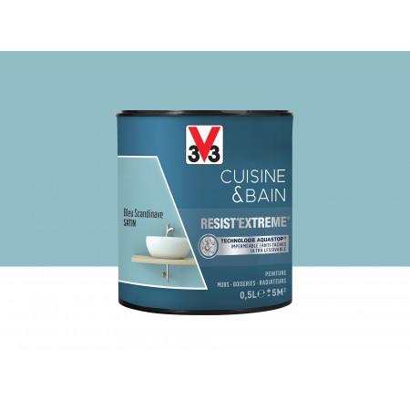 Peinture cuisine & sdb Resist'Extême Satin V33 Bleu Scandinave 0,5L