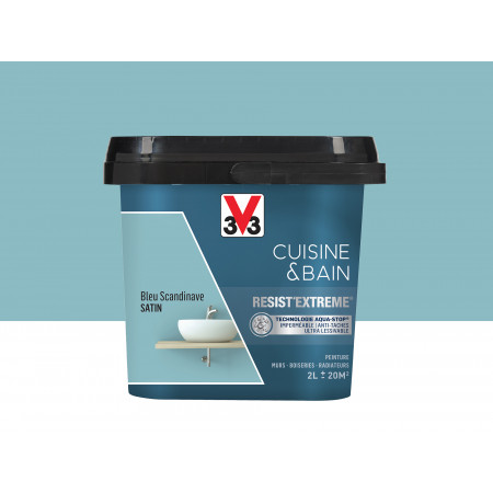 Peinture cuisine & sdb Resist'Extême Satin V33 Bleu Scandinave 2L
