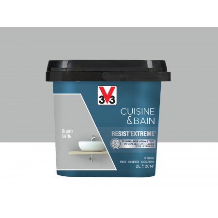 Peinture cuisine & sdb Resist'Extême Satin V33 Brume 2L
