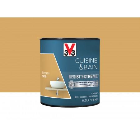 Peinture cuisine & sdb Resist'Extême Satin V33 Curcuma 0,5L
