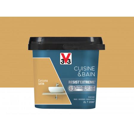 Peinture cuisine & sdb Resist'Extême Satin V33 Curcuma 2L