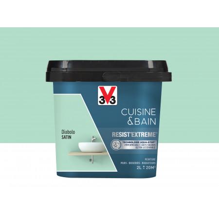 Peinture cuisine & sdb Resist'Extême Satin V33 Diabolo 2L
