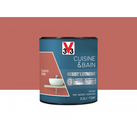 Peinture cuisine & sdb Resist'Extême Satin V33 Espelette 0,5L