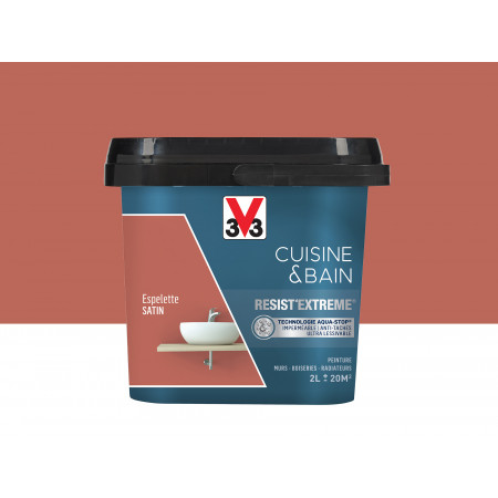 Peinture cuisine & sdb Resist'Extême Satin V33 Espelette 2L