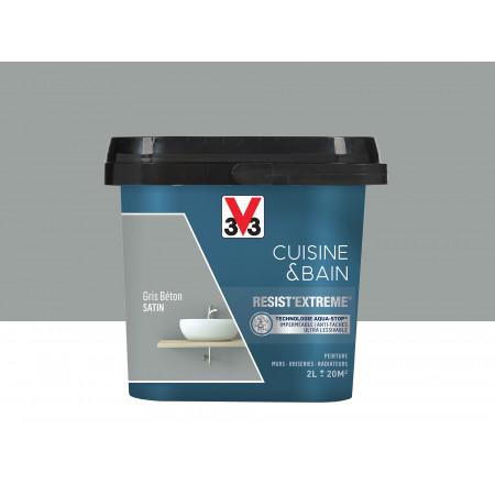 Peinture cuisine & sdb Resist'Extême Satin V33 Gris béton 2L