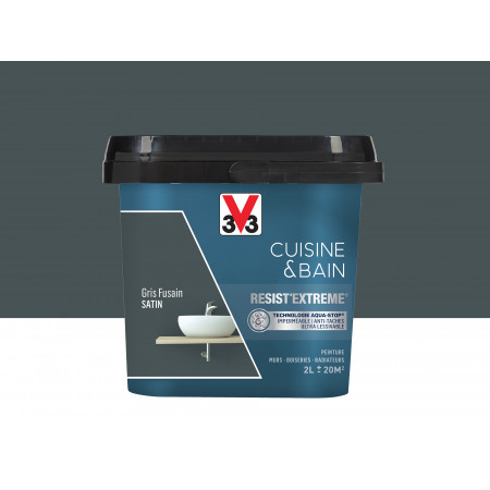 Peinture cuisine & sdb Resist'Extême Satin V33 Gris fusain 2L