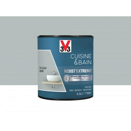 Peinture cuisine & sdb Resist'Extême Satin V33 Gris galet 0,5L