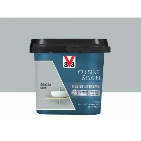 Peinture cuisine & sdb Resist'Extême Satin V33 Gris galet 2L