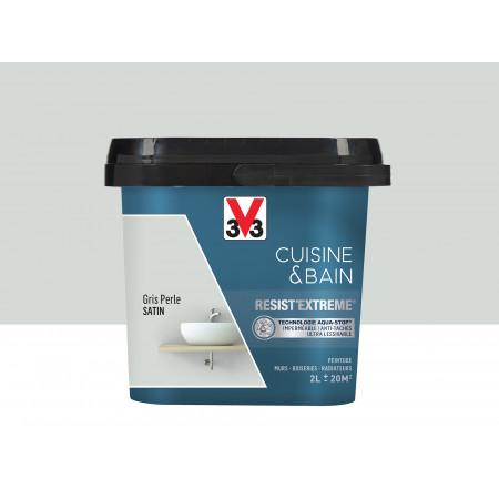 Peinture cuisine & sdb Resist'Extême Satin V33 Gris perle 2L