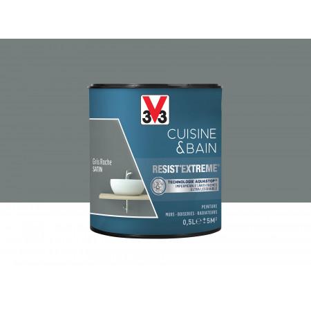 Peinture cuisine & sdb Resist'Extême Satin V33 Gris roche 0,5L